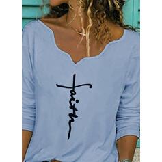 Nadruk Dekolt w kształcie litery V Długie rękawy Casual Bluzki