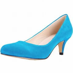 Women's Suede Cone Heel Pumps Closed Toe shoes