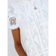 Шею С коротким рукавом Кнопка вверх Повседневная элегантный Блузы