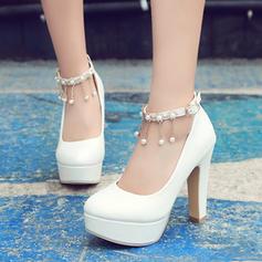 De mujer PVC Tacón ancho Salón Plataforma con Cadena Borla zapatos