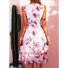 Print/Floral Sleeveless A-line Knee Length Party/Elegant Skater Dresses