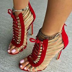 Mulheres PU Salto agulha Sandálias Bombas Peep toe com Aplicação de renda Oca-out sapatos