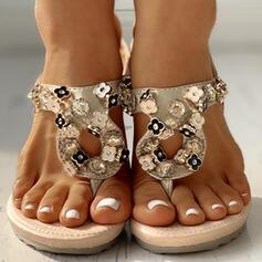 Bayanlar PU Düz topuk Parmak arası terlik Terlik Ile Çiçek ayakkabı