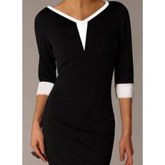 Bloque de color Mangas 3/4 Ajustado Sobre la Rodilla Pequeños Negros/Elegante Vestidos