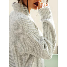 Solid Ribbed Chunky knit Lapel Casual Sweaters