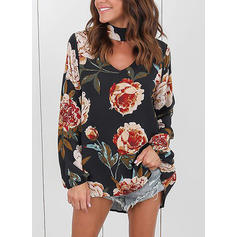Floral V Neck Long Sleeves Casual Blouses