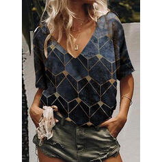 Geometric Print V-Neck 1/2 Sleeves Casual T-shirts