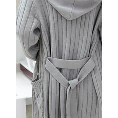 Solide Kabel-gebreid Grof gebreid Pocket Met capuchon Casual Lang Vest
