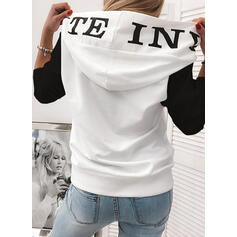 Print Color Block Sequins Long Sleeves Hoodie