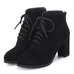 Women's Suede Chunky Heel Pumps Boots Mid-Calf Boots With Lace-up shoes