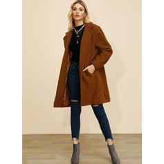 Polyester Long Sleeves Plain Wide-Waisted Coats Faux Fur Coats