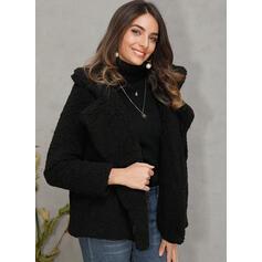 műszőrme Hosszú ujjú Egyszerű Faux Fur kabát