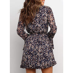 Print Long Sleeves/Flare Sleeves A-line Above Knee Casual Dresses