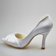 Frauen Satin Stöckel Absatz Peep-Toe Sandalen mit Geraffte