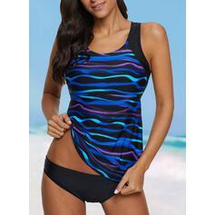 Stripe Strap Vintage Tankinis Swimsuits