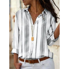 Striped Lapel Long Sleeves Casual Blouses