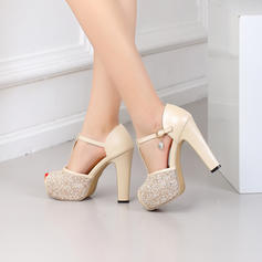 Women's Leatherette Chunky Heel Peep Toe