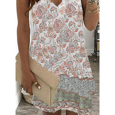 Print Sleeveless Shift Above Knee Casual Slip Dresses