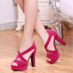 Women's Suede Stiletto Heel Sandals Platform Peep Toe shoes