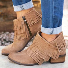 Vrouwen PU Low Heel Laarzen met Rits Tassel schoenen