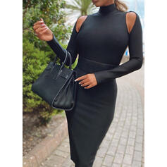 Solid Long Sleeves Bodycon Knee Length Little Black/Sexy Pencil Dresses
