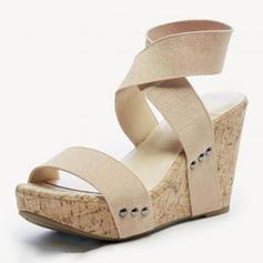 De mujer PU Tipo de tacón Sandalias Cuñas con Banda elástica zapatos