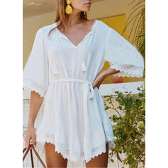 Solid 1/2 Sleeves Sheath Asymmetrical Casual/Vacation Dresses
