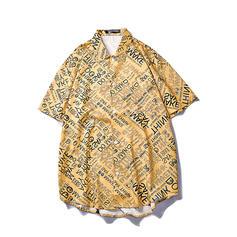 Men's Letter Hawaiian Beach Shirts