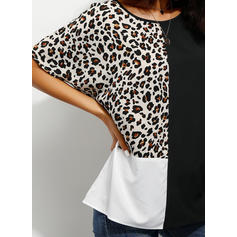 Leopard Round Neck Short Sleeves Casual Knit Blouses