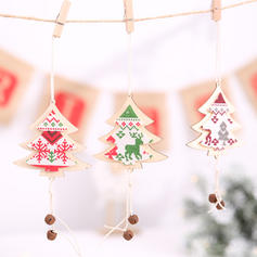 Merry Christmas Hanging Christmas Tree Wooden Christmas Pendant Christmas Décor Christmas Bell