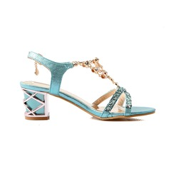 Women's Leatherette Chunky Heel Sandals Pumps Peep Toe shoes