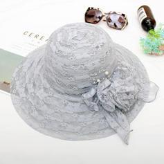 Ladies' Classic/Handmade Cambric/Lace With Silk Flower Beach/Sun Hats