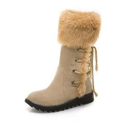 Femmes Suède Talon compensé Bottes Bottes mi-mollets Bottes neige avec Fausse Fourrure chaussures