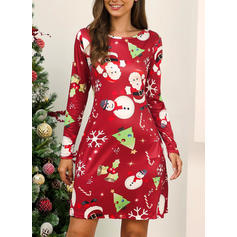 Print Long Sleeves Shift Knee Length Christmas/Party Dresses