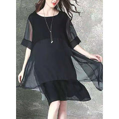 Solid 1/2 Sleeves Shift Knee Length Little Black/Casual/Elegant Dresses