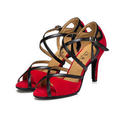 Women's Latin Heels Sandals Leatherette Suede With Buckle Latin
