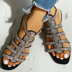 Women's PU Low Heel Sandals Peep Toe With Rhinestone Buckle shoes