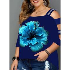 Drucken Blumen Kalte Schulter 3/4 Ärmel Freizeit Große Größen Blusen
