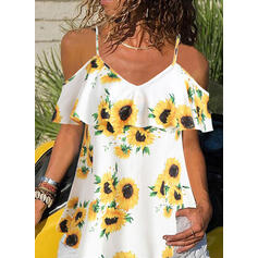 Sunflower Print Spaghetti Strap Short Sleeves Casual Blouses