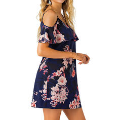 Print/Floral Short Sleeves Shift Above Knee Casual/Vacation Dresses