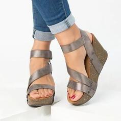 Mulheres PU Plataforma Sandálias Peep toe com Velcro sapatos