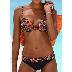 Kwiatowy Nadruk W prążki Seksowny Wintage Bikini Stroje kąpielowe