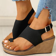Women's PU Wedge Heel Sandals Wedges Peep Toe Toe Ring Heels With Buckle shoes