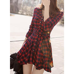 Plaid Long Sleeves A-line Above Knee Casual Dresses