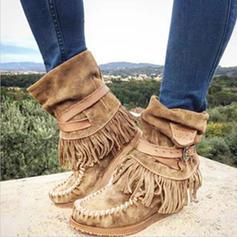 Donna PU Tacco basso Stiletto Punta chiusa Stivali Stivali alla caviglia con Nappa scarpe