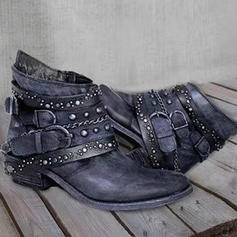 Women's PU Chunky Heel Pumps Boots Ankle Boots With Buckle shoes