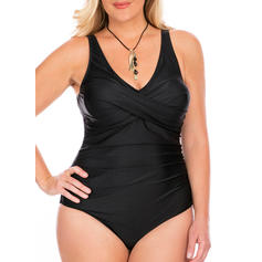 Solid Color V-neck Elegant Beautiful One-piece Swimsuits