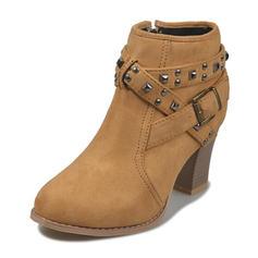 Femmes PU Talon bottier Bottes avec Boucle chaussures