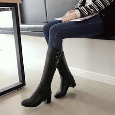 Mulheres Couro Salto robusto Botas Bota no joelho com Fivela Zíper sapatos