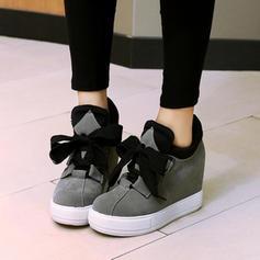 Femmes Suède Talon compensé Escarpins Plateforme avec Dentelle chaussures